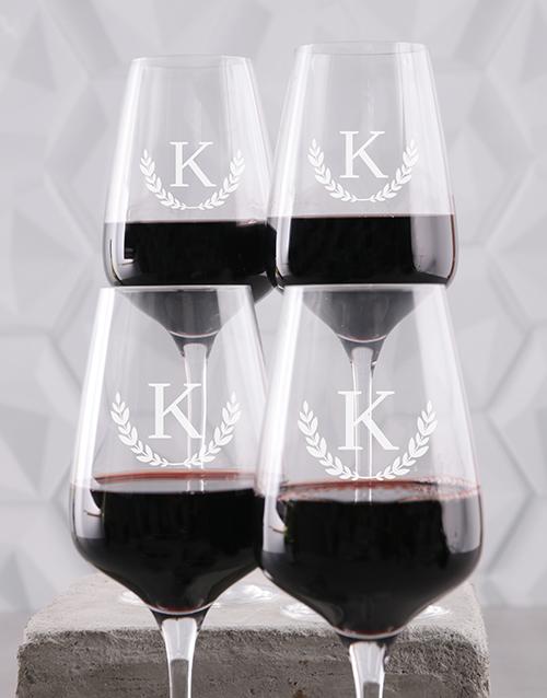 anniversary: Personalised Wreath Monogram Wine Glass Set!
