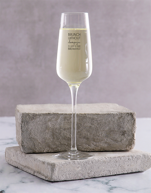 homeware: Personalised Brunch Single Champagne Glass!