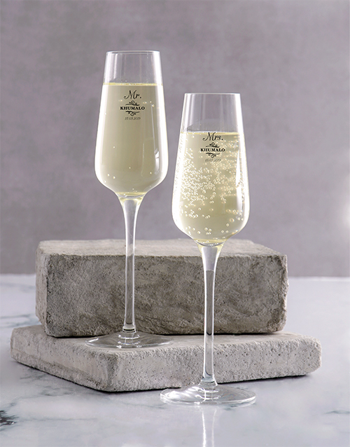 personalised: Personalised Mr And Mrs Champagne Glass Set!