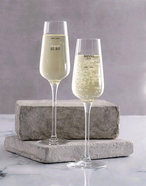 homeware: Personalised All Day Champagne Glass Set!