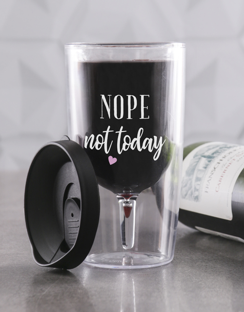 homeware: Personalised Not Today Travel Wine Glass!