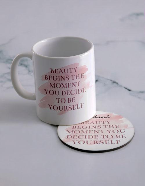 personalised: Personalised Be Yourself Mug And Coaster Set!