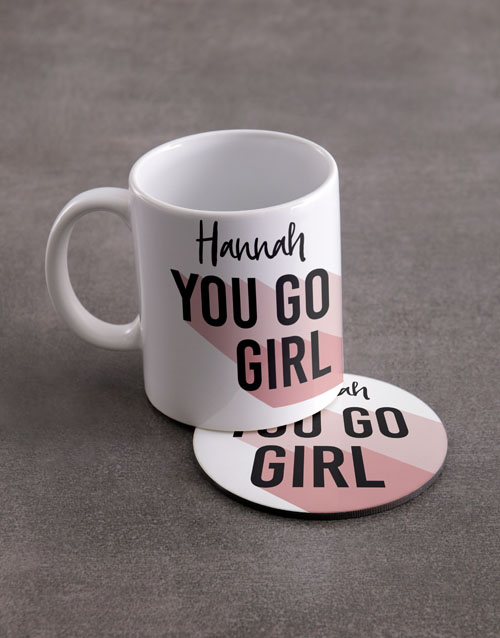 personalised: Personalised You Go Girl Mug And Coaster Set!