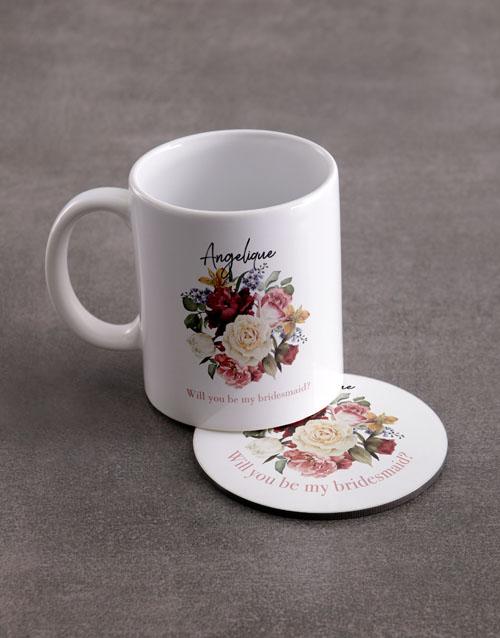 personalised: Personalised Bridesmaid Mug And Coaster Set!