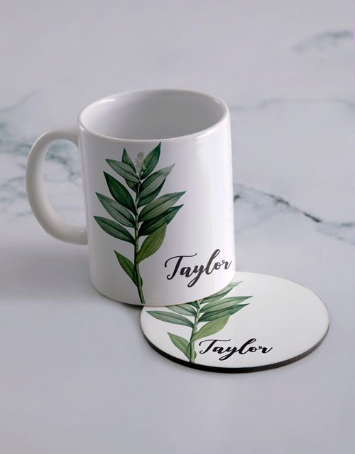 personalised: Personalised Floral Mug And Coaster Set!