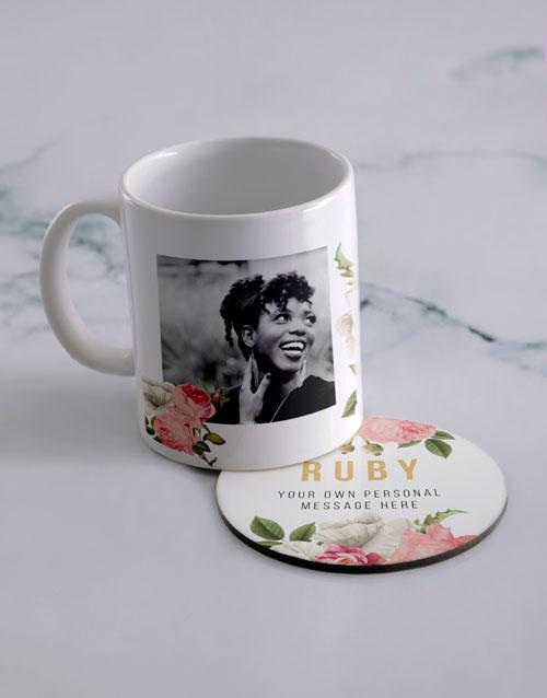 personalised: Personalised Floral Photo Mug And Coaster Set!
