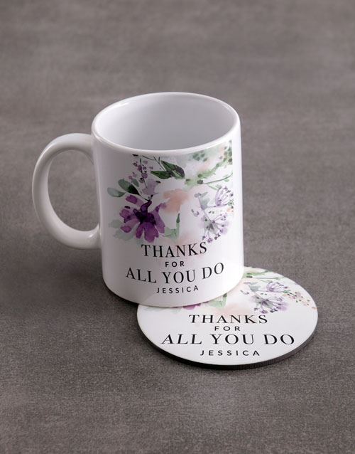 gifts: Personalised Thank You Mug And Coaster Set!
