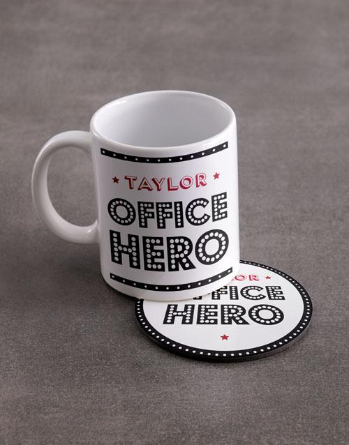 personalised: Personalised Office Hero Mug And Coaster Set!