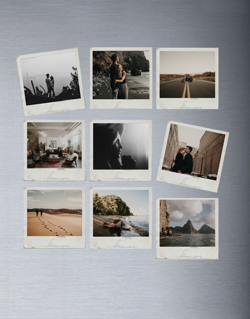 homeware: Personalised Polaroid Magnets Set Of Nine!