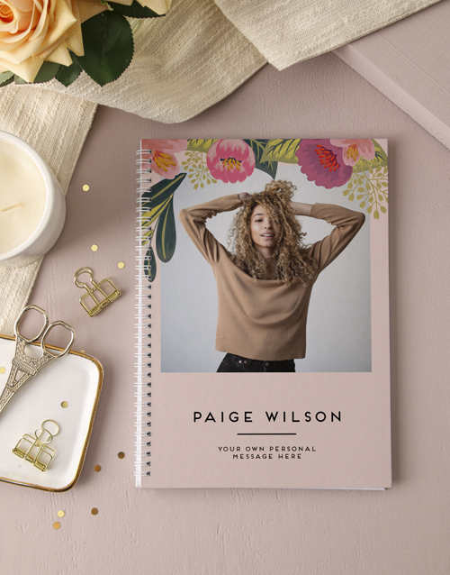 gifts: Personalised Floral Photo Ring Bound Notebook!