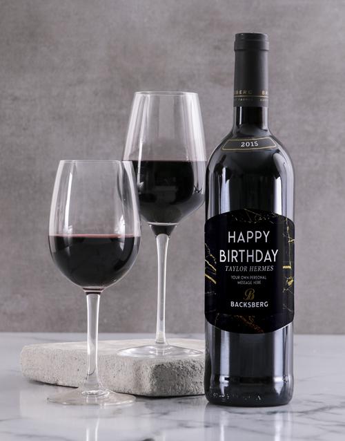 personalised: Personalised Black Marble Backsberg Wine!