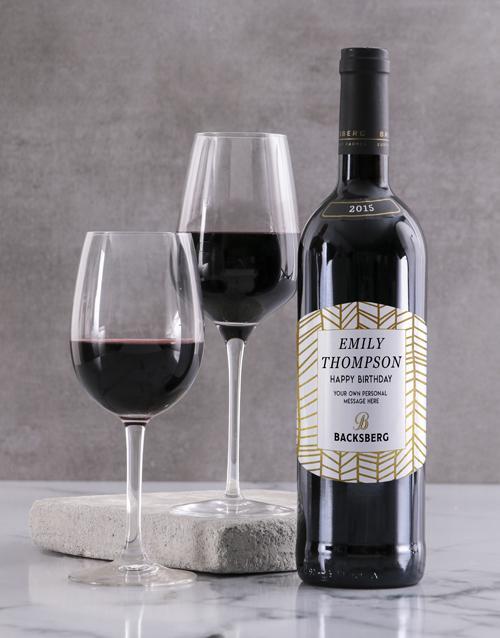 personalised: Personalised Golden Backsberg Wine!