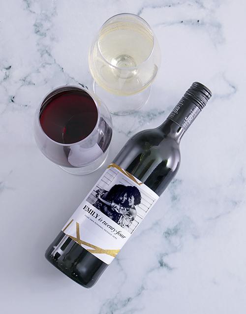 birthday: Personalised Golden Wishes Photo Wine!