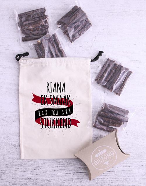 anniversary: Personalised Stukkend Biltong Bag!