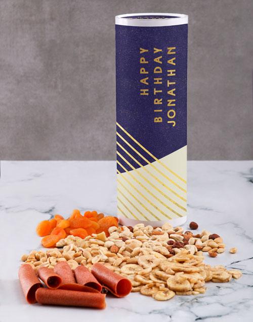 gourmet: Personalised Birthday Gourmet Fruit And Nuts Tube!