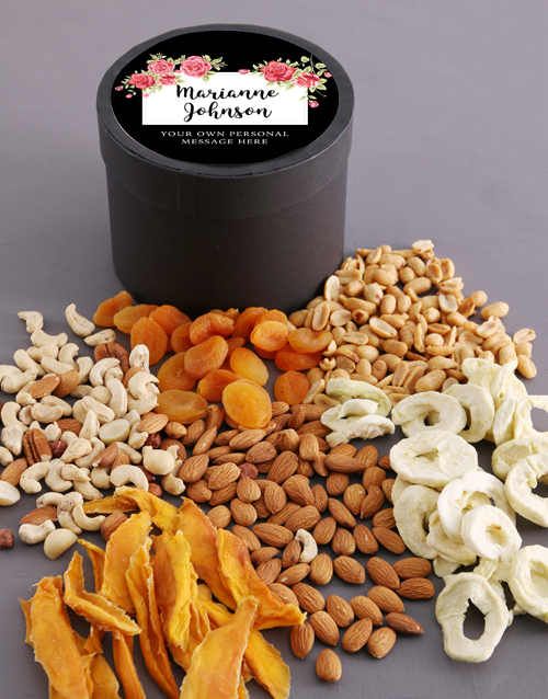 gourmet: Personalised Blossom Fruit and Nut Hat Box!