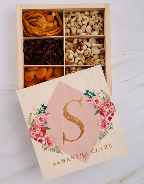 bosses-day: Personalised Initial Floral Snack Crate!