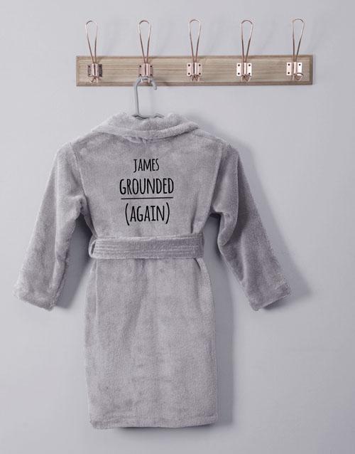 kids: Personalised Own Words Grey Fleece Kids Gown!