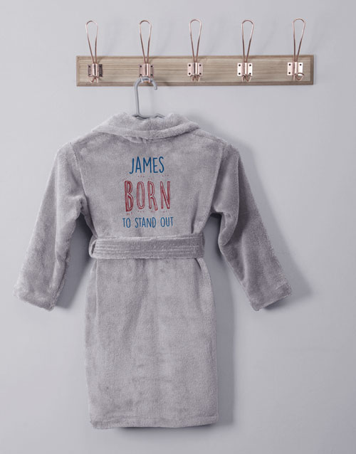 kids: Personalised Stand Out Grey Fleece Kids Gown!
