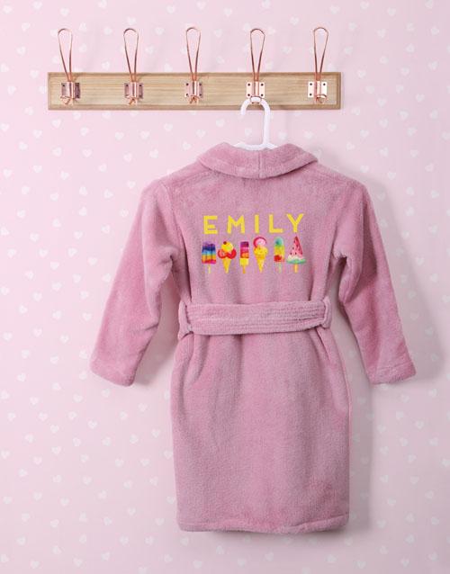 kids: Personalised I Scream Pink Fleece Kids Gown!