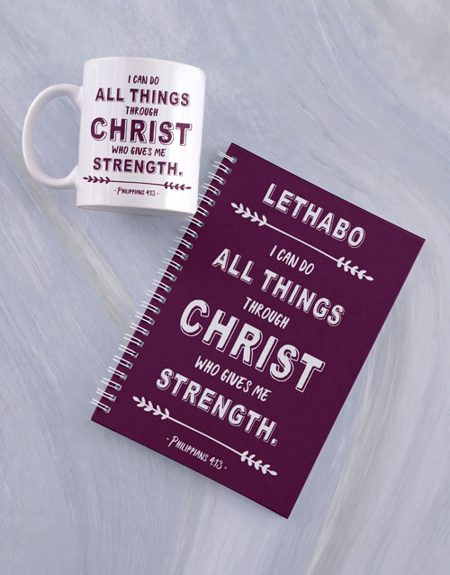 personalised: Personalised Strength in Christ Mug And Notebook!