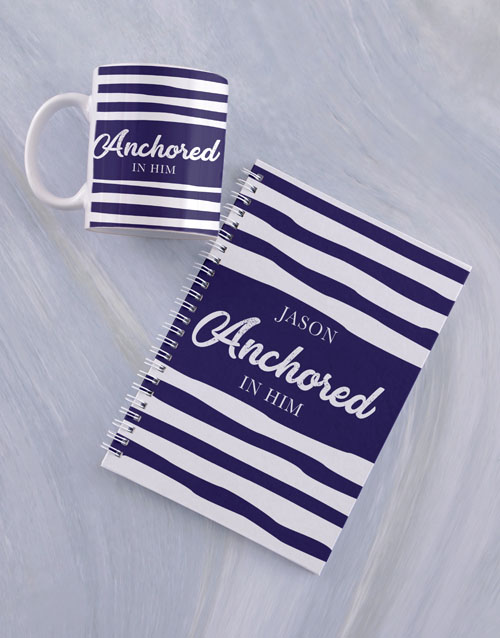 fathers-day: Personalised Anchored Mug And Notebook!