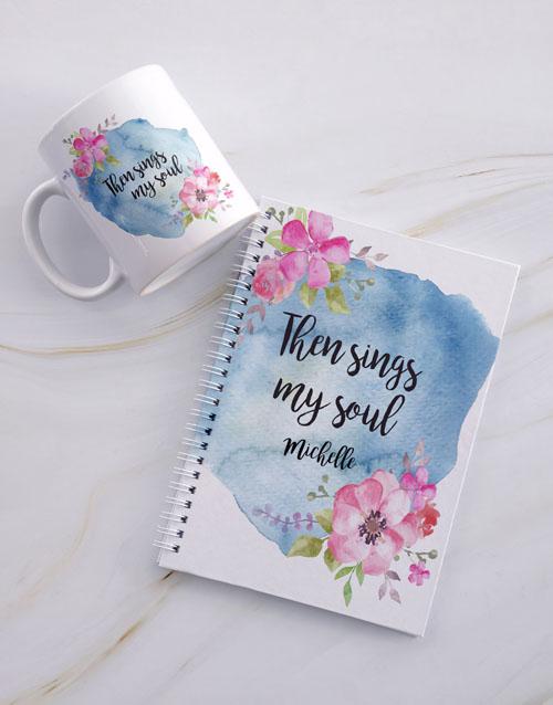 personalised: Personalised Sings My Soul Mug And Notebook!