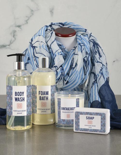 bosses-day: Floral Blue Scarf Pamper Hamper!