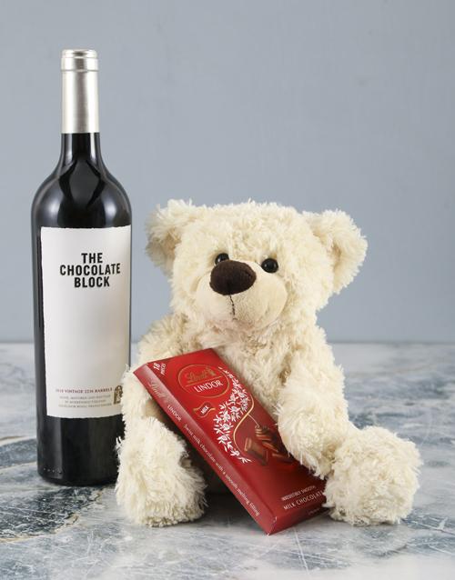 teddy-bears: Cream Teddy and Chocolate Block Hamper!
