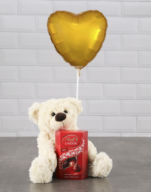 mothers-day: Cream Teddy And Gold Balloon Hamper !