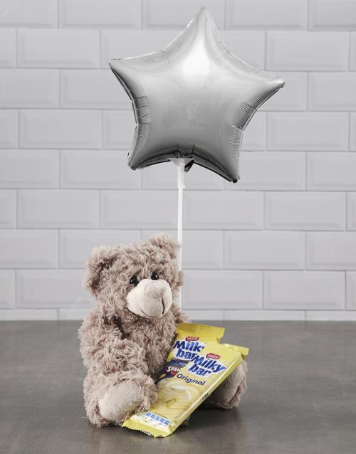 secretarys-day: Brown Teddy And Silver Star Balloon Hamper!