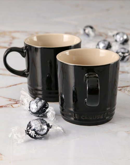fathers-day: Shiny Black Le Creuset Mugs and Chocolate!