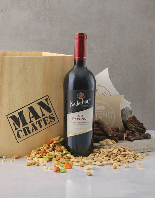 fathers-day: Red Wine Biltong & Nuts in a Man Crate Box!