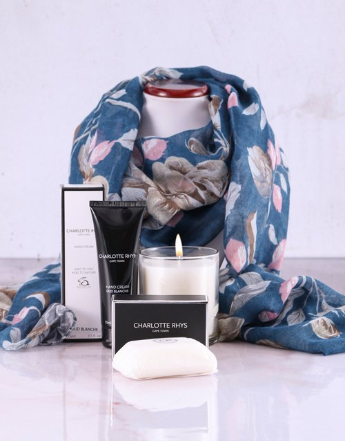 apparel: Charlotte Rhys Pamper Box And Blue Floral Scarf!