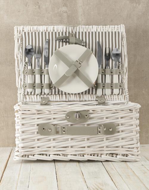 anniversary: Two Person White & Grey Picnic Basket!