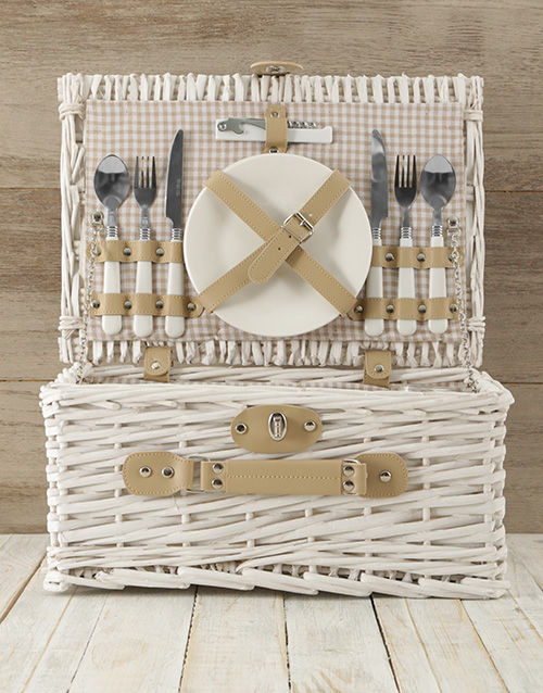 year-end: Two Person White & Gold Picnic Basket!