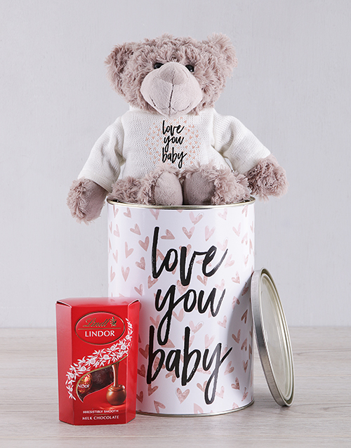gifts: I Love You Teddy and Lindt!