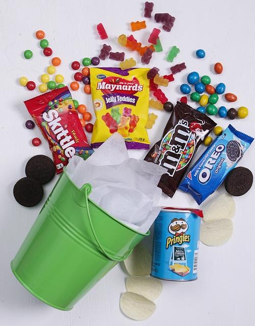 anniversary: Green Bucket of Sweet Treats!