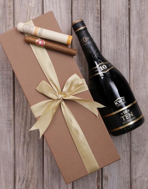 fine-alcohol: Gold Box of KWV 10 and Cuban Cigar!