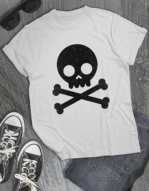 clothing: Black Glitter Skull T Shirt !