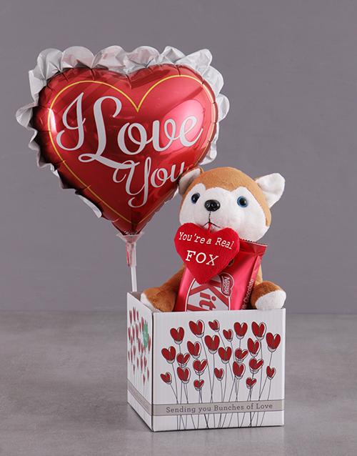 valentines-day: Fox And Balloon Box Hamper!
