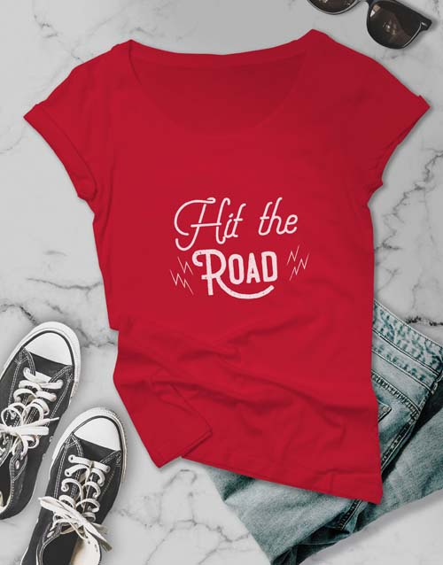 clothing: Hit The Road Ladies T Shirt!
