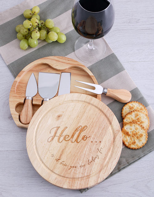 homeware: Hello Is it Brie Cheese Board with Knives!