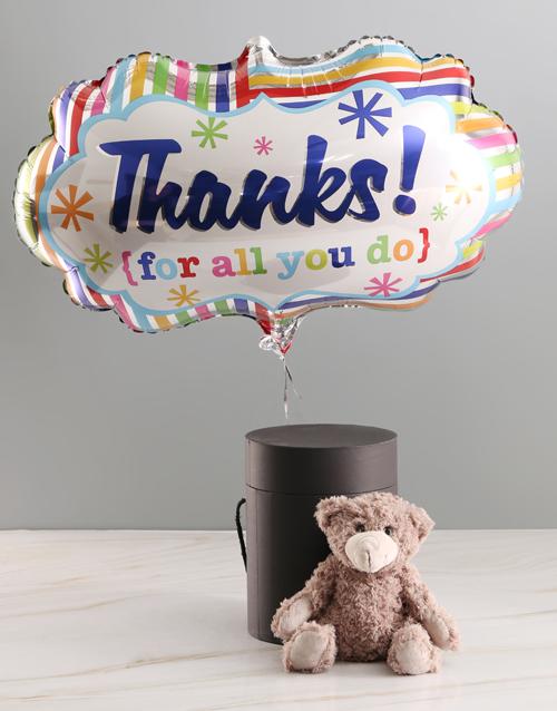 teddy-bears: Thank You Balloon With Teddy Bear In Hat Box!