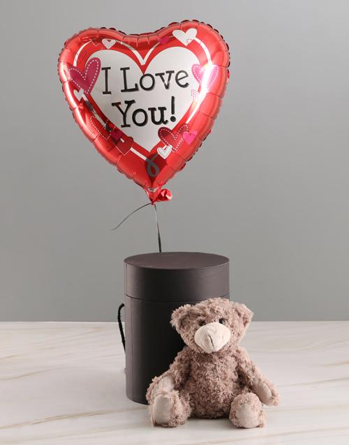 teddy-bears: I Love You Balloon With Teddy Bear In Hat Box!