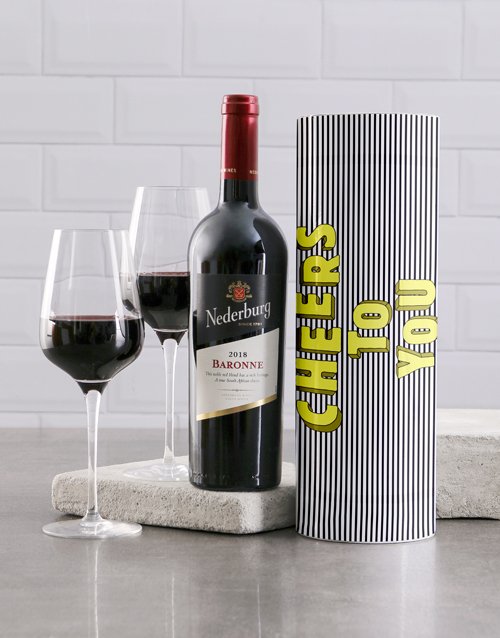 christmas: Cheers To You Striped Wine Tube!