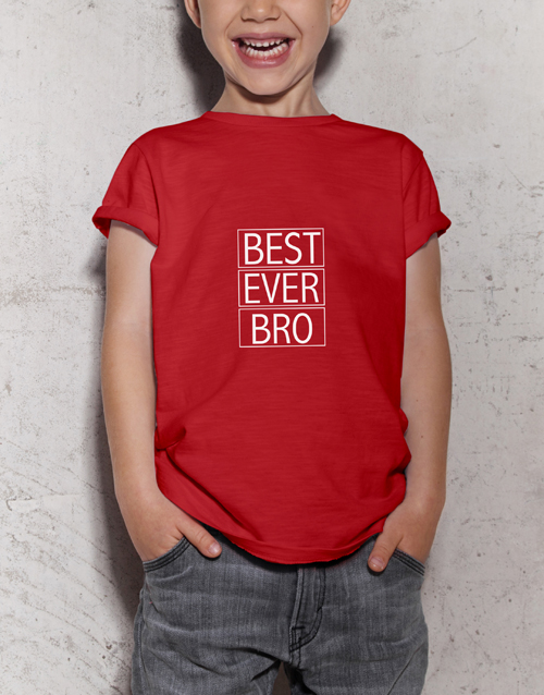 clothing: Best Bro Ever Kids Red T Shirt!