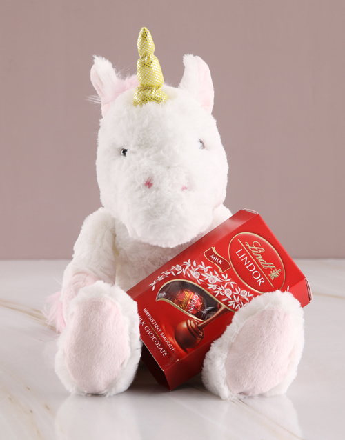 prices: Unicorn Teddy With Lindt Chocolate!