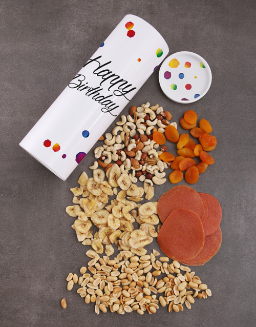 gourmet: Happy Colourful Birthday Fruit And Nuts Tube!