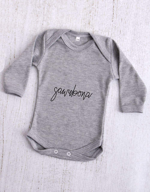 apparel: Sawubona Grey Baby Onesie!